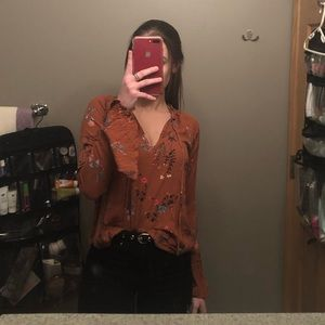 Wildflower Forever 21 Blouse with Bell Sleeves
